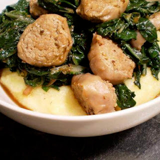 Swiss Chard and Turkey Sausage Over Polenta