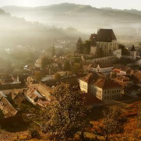 morning light of Biertan by Nicu Hoandra - Landscapes Sunsets & Sunrises ( autumn, fog, trees, castle, colours )