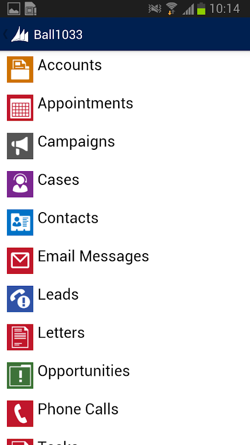 Dynamics CRM for phones - screenshot