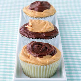 Peanut-Butter and Chocolate Frosted Cupcakes.