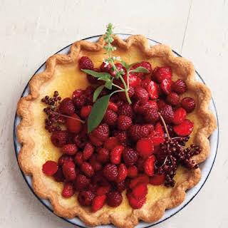 Lemon-Basil Custard Pie with Red Berries.