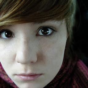 Stare by Kajsa Karlsson - People Portraits of Women ( brown eyes, red, girl, sadness, sad, woman, pink, brown, freckles, brown hair, black,  )