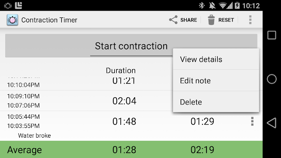 Contraction Timer Screenshot 17