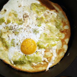 Olive Oil Crepes with Leeks and Eggs