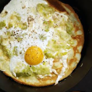 Olive Oil Crepes with Leeks and Eggs.