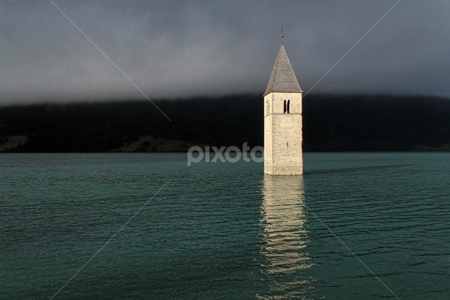 Lago di Reschia by Dominic Jacob - Landscapes Waterscapes ( lago, old, church, italia, see, lago reschia, reschia, italie, italy, lac, reschen,  )