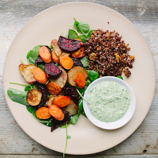 Roasted Beets, Carrots, and Jerusalem Artichokes with Lemon and The Greenest Tahini Sauce.