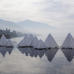 Zuger See by Pavel Laberko - Landscapes Waterscapes ( modern art, fog, reflections, lake, landscape,  )