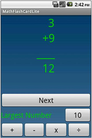 QuizMath math flash cards lite - screenshot