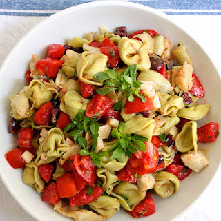 Tortellini with Fresh Tomatoes, Artichokes and Smoked Mozzarella.
