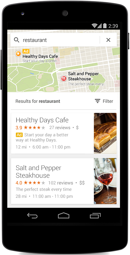 AdWords GMM Mobile Maps ad