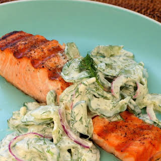 Grilled Salmon with Creamy Cucumber-Dill Salad.