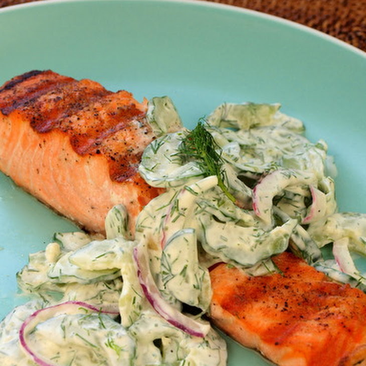 Grilled Salmon with Creamy Cucumber-Dill Salad Recipe