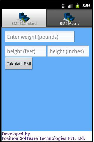 BMI calculator v2 - screenshot