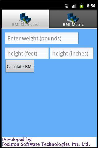 BMI calculator v2 - screenshot