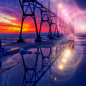 Reflective Night by Charles Anderson Jr - Buildings & Architecture Bridges & Suspended Structures ( water, lake michigan, sunset, lighthouse, pier )