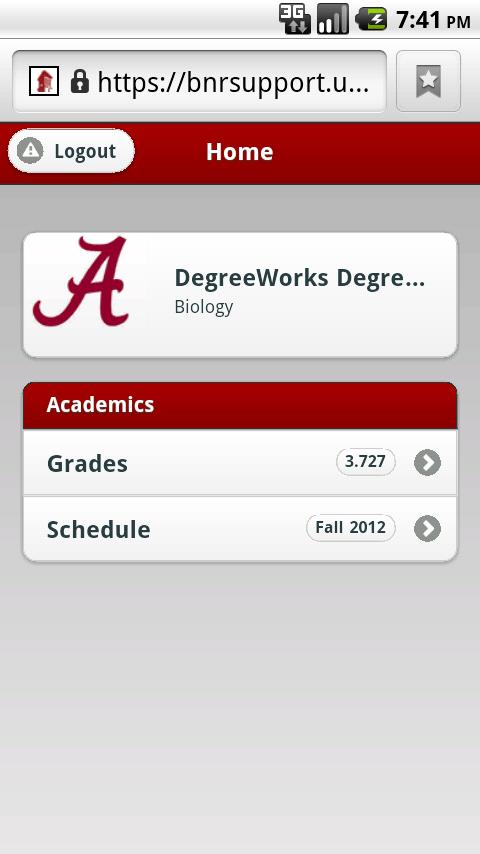 University of Alabama - screenshot