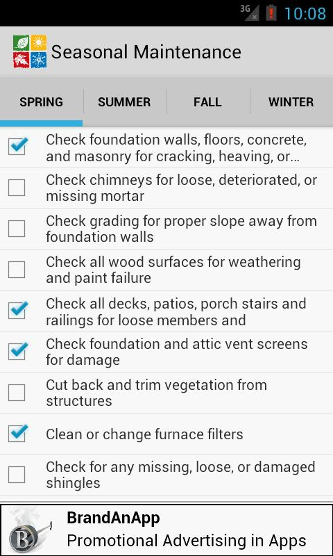 Seasonal Maintenance Checklist - screenshot
