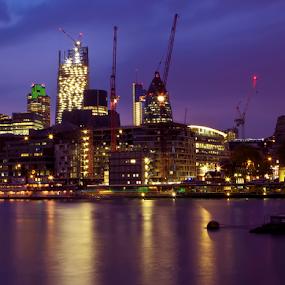 London at night by Anz Defensor - City,  Street & Park  Night