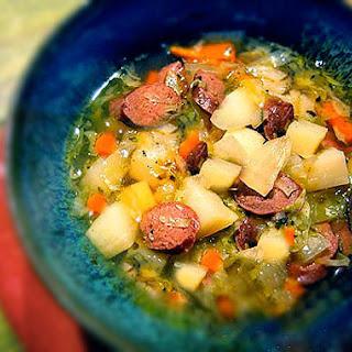 Irish Potato & Cabbage Soup with Soda Bread.