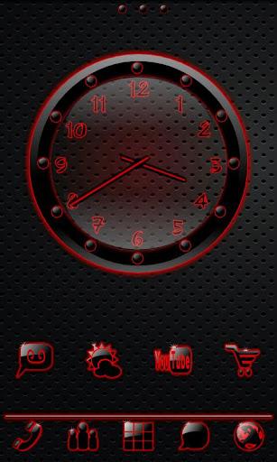 Sleek Ebony Red Clock Widget