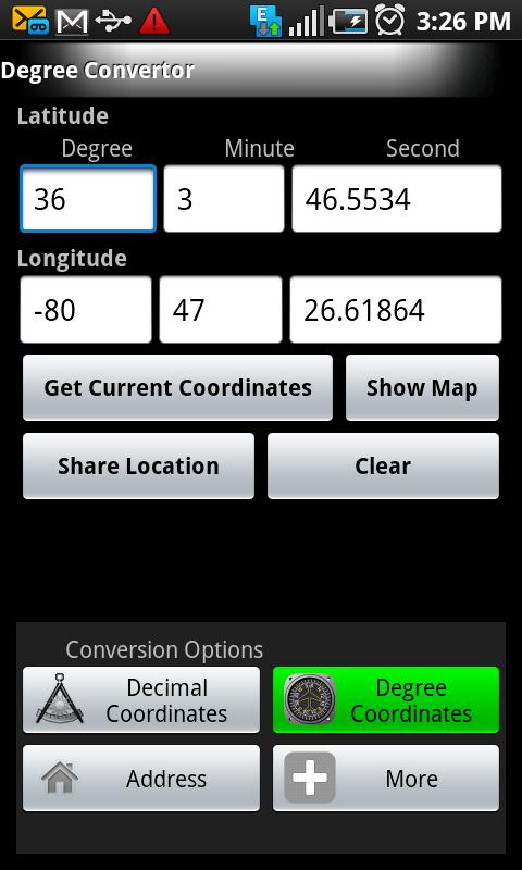 Longitude Latitude Convertor - screenshot