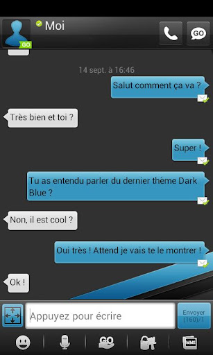 DarkBlue GO SMS Theme donate