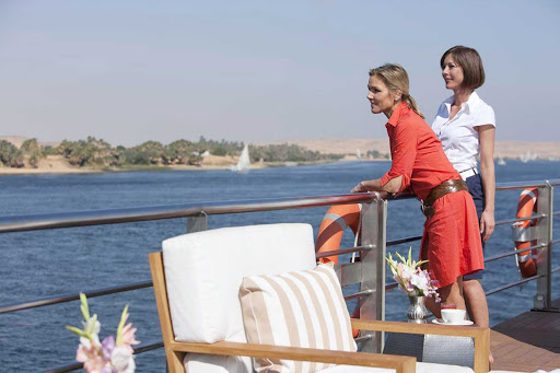 Uniworld-River-Tosca-sundeck - Spend an afternoon on board the River Tosca taking in the scenery as you make your journey along the Nile River in Egypt.