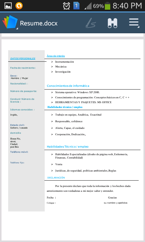 Cv Resume Espa 241 Ol Spanish Android Apps On Google Play