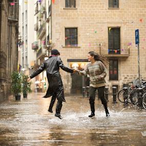The Dance  by Benjamin Arthur - People Street & Candids ( wet, street dance, barcelona, spain, rain )