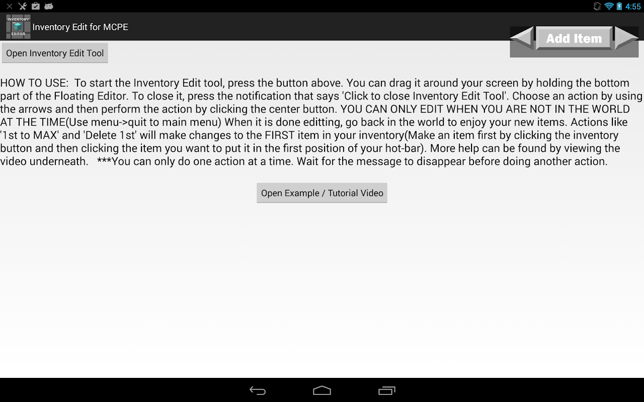 Inventory Edit for MCPE APK 1 76 Download - Free Tools APK