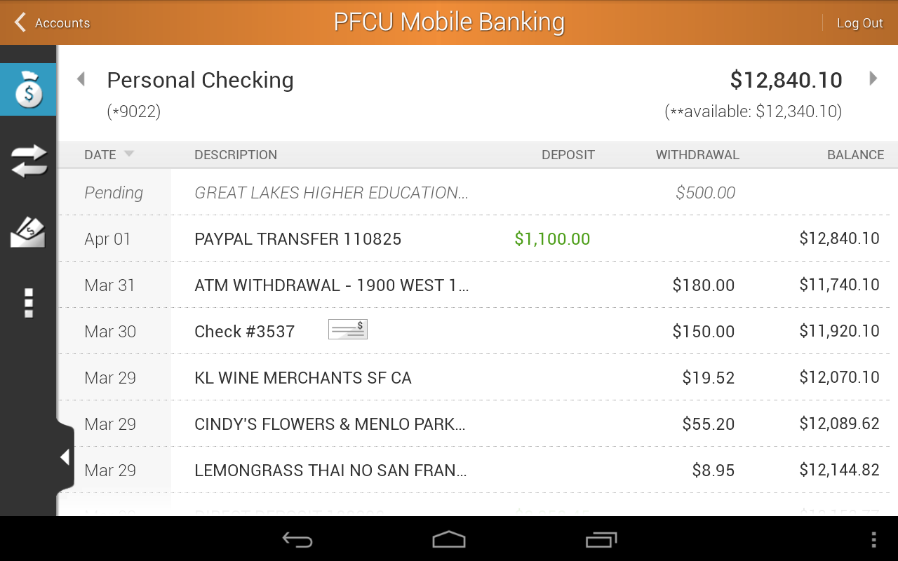PFCU Mobile - screenshot