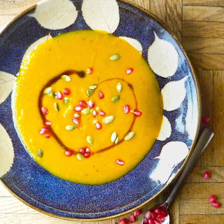Kabocha Squash Soup with Pomegranate and Pepitas.