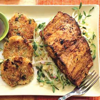 Mahi-Mahi with Lemongrass Slaw and Rice Fritters