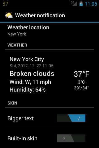 Weather notification - screenshot