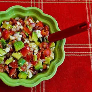 Lisa's Cross-Cultural Salsa with Tomato, Avocado, Lime, and Feta.