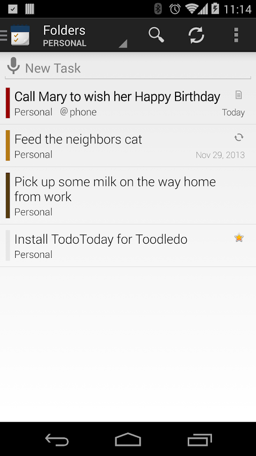 TodoToday Pro for Toodledo - screenshot