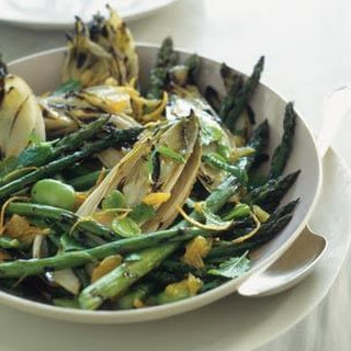 Grilled Asparagus and Endive with Favas, Orange and Mint