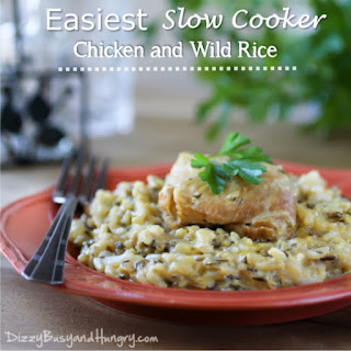 Easiest Slow Cooker Chicken and Wild Rice.