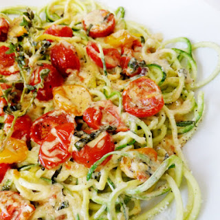 Zucchini Noodles with Slow-Roasted Cherry Tomatoes and Cream Recipe