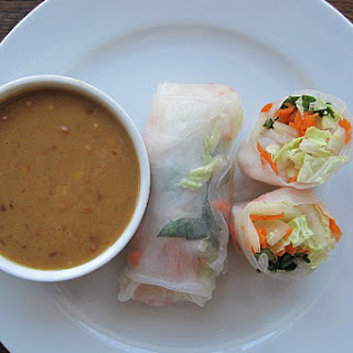 Spring Rolls with Asian-Inspired Peanut Butter Sauce.