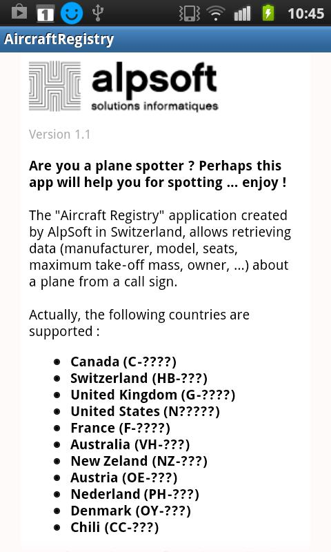 Aircraft Registry- screenshot