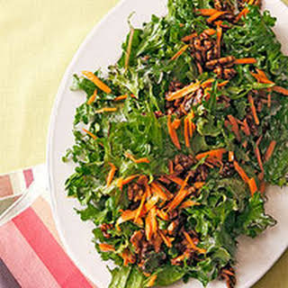Kale and Carrot Salad with Candied Walnuts.
