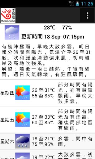 香港九天天氣預測