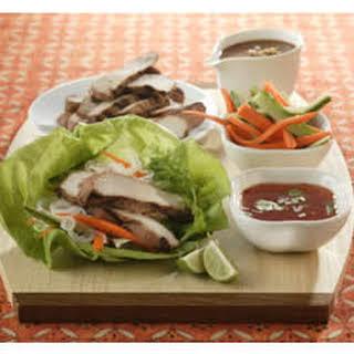Thai Lettuce Wraps with Satay Pork Strips.
