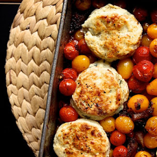 Tomato Cobbler with Blue Cheese Biscuits.