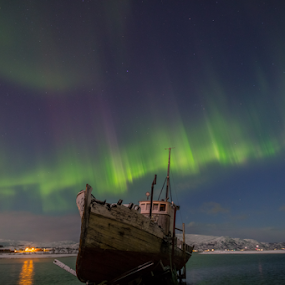 The Green Lady going on board by Geir Hammer - Transportation Boats ( lights, water, mountains, waterscape, stars, snow, northern lights, aurora borealis, boat, norway )