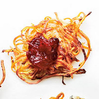 Sweet Potato-Apple Latkes with Cranberry Sauce