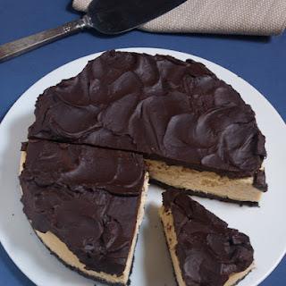 Kahlua Cheesecake with Chocolate Almond Crust and Chocolate Ganache.