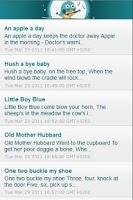 Screenshot of Baby Lyrics: nursery rhymes